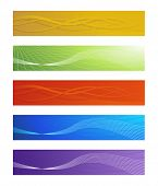 Set of five colored abstract banners