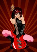 Vector illustration of beautiful rock girl with red bass guitar