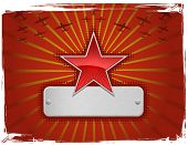 Vector illustration of red grungy star frame