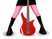 Vector illustration of red bass guitar and female legs, guitar is fully editable