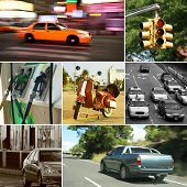 Set of seven road related photos