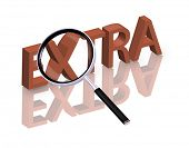 Magnifying glass enlarging part of red 3D word with reflection extra button extra icon isolated on w