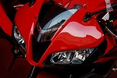 Red motorcycle. Japanese model for 2007.