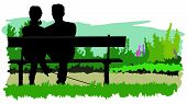Couple sitting on bench. Color vector illustration