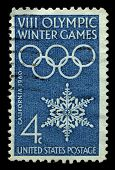 USA - CIRCA 1960: A stamp printed in USA shows image of the dedicated to the 8 Olympic Winter Games circa 1960.