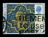 UNITED KINGDOM - CIRCA 1972: A stamp shows image of the dedicated to the English embroidery includes embroidery worked in England abroad from Anglo-Saxon times to the present day, circa 1972.