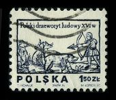 POLAND - CIRCA 1980: A stamp printed in POLAND shows image of the dedicated to the Polish folk woodc