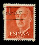 SPAIN - CIRCA 1975: A stamp portrait Francisco Paulino Hermenegildo Teodulo Franco y Bahamonde Salgado Pardo de Andrade,commonly known as Franco, was a Spanish dictator, circa 1975.