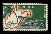 USA - CIRCA 1963: A stamp printed in USA shows image of the dedicated to the West Virginia is a state in the Appalachian and Mid-Atlantic regions of the United States, circa 1963.