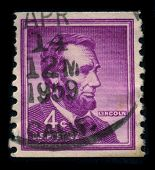 USA-CIRCA 1959: A stamp shows image portrait Abraham Lincoln (February 12, 1809 - April 15, 1865) se