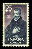 SPAIN - CIRCA 1980:A stamp printed in SPAIN shows image of the Saint John of Avila, Apostle of Andalusia was a Spanish apostolic preacher, author, mystic and saint, canonized in 1970, circa 1980.