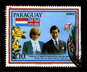 PARAGUAY-CIRCA 1981:A stamp printed in Paraguay shows image of The wedding of Charles, Prince of Wales,and Lady Diana Frances Spencer took place on 29.07.81 at St Paul's Cathedral, London, circa 1981.