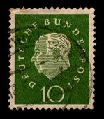 GERMANY-CIRCA 1950:A stamp printed in GERMANY shows image of the Theodor Heuss  was a German politician and served as the first President of the Federal Republic of Germany, circa 1950.