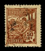 BRAZIL-CIRCA 1960:A stamp printed in Brazil shows image of the Industrialization of Brazil, circa 1960.