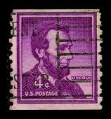 USA-CIRCA 1930:A stamp printed in USA shows image of Abraham Lincoln served as the 16th President of