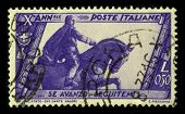 ITALY-CIRCA 1933:A stamp printed in ITALY shows image of the Benito Amilcare Andrea Mussolini (29 Ju
