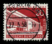 GERMANY-CIRCA 1958:A stamp printed in Germany shows image of the Freie Universitat Berlin is one of the leading research universities in Germany, circa 1958.