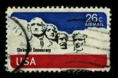 USA-CIRCA 1974:A stamp printed in USA shows image of the Mount Rushmore National Memorial is a sculp