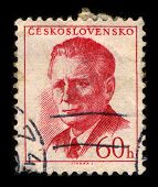 CZECHOSLOVAKIA-CIRCA1958:A stamp printed in CZECHOSLOVAKIA shows image of Antonin Novotny was Genera