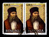 ROMANIA - CIRCA 2007:Two stamp printed in ROMANIA shows image of Johannes Honter was a Siebenbuerger