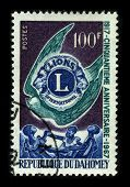 REPUBLIQUE DU DAHOMEY-CIRCA 1967:A stamp printed in REPUBLIQUE DU DAHOMEY shows image of the Lions Clubs International (LCI) is a secular service organization with over 44,500 clubs, circa 1967.