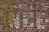 Brick Wall With Faded Letters