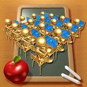 Little Golden Students With Laptops At School Desks