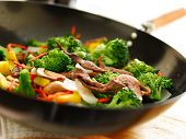 image of chinese wok  - wok with stirfry - JPG