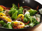 wok stir fry closeup