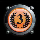 Ilustração de um cromo e laranja terceiro lugar ícone botão com louros
