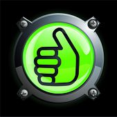 Illustration of a shiny green thumbs up button icon