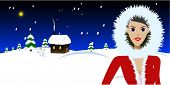 Vector - Beautiful woman in a fur coat standing in front of a cabin covered in snow. Christmas concept.