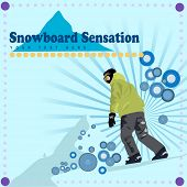 Vector - Snowboard vector with retro rings and starburst frame. Copy space available for text.
