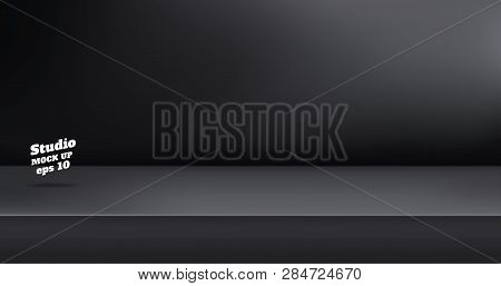 poster of Vector,empty Black Color Studio Table Room Background ,product Display With Copy Space For Display O