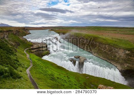 poster of Aerial view of the Gullfoss (Golden Falls) waterfall on the Hvítá river, a popular tourist attract