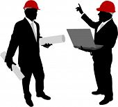 businessmen with hardhat holding plans and laptop