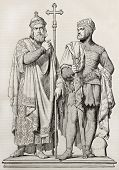 Mieszko I of Poland and Boleslaw I Chrobry, bronze group statue kept in Posen cathedral, old illustration. Created by Stal, published on Magasin Pittoresque, Paris, 1845