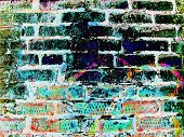 Brick Wall Texture Grunge Background With Vignetted Corners poster