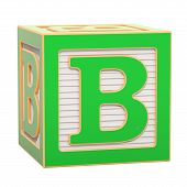 Abc Alphabet Wooden Block With B Letter. 3d Rendering Isolated On White Background poster