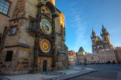 Prague Old Town Square, sunrise at Astronomical Clock Tower, Czech republic, Europe. poster