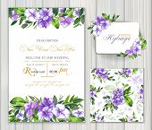 Set Of Vector Templates For Greetings Or Invitations To The Wedding And One Seamless Pattern With Pu poster
