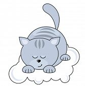 Small blue pretty cat sleeping on a cloud. Raster version.