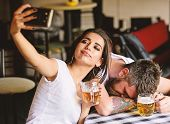 Take Selfie To Remember Great Event. He Appears Too Weak For Her. Woman Making Fun Of Drunk Friend.  poster