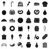 Sweet Dessert Icons Set. Simple Style Of 36 Sweet Dessert Icons For Web Isolated On White Background poster
