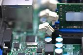 Ram Memory Chip At Server Motherboard. Selective Focus. Cloud Web Server Technologies. Testing And R poster
