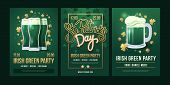 Set Of Festive Posters With Symbols Of  Irish Holiday On A Green Background. Three Beer Glasses With poster