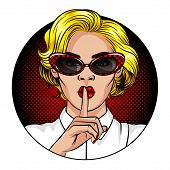 Color Vector Illustration In The Style Of Comic Pop Art. A Girl With Blond Hair And Red Lips. The Gi poster