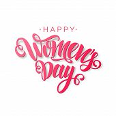 Happy Womens Day Vector Red Script Lettering On White Background. Hand Written Design Element For Ca poster