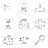 Chemical Icon Set. Outline Style Set Of 9 Chemical Icons For Web Isolated On White Background poster