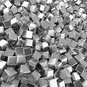 Chrome Abstract Heap Of Cubes Backdrop. Contrast 3d Rendering Geometric Polygons, As Mirror Wall. In poster